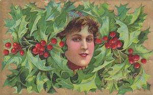 Xmas Greetings, Woman´s face among hollies, PU-1910