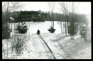 dc1964 - ANGOLA Indiana 1950s Potawatomi Inn Tobogganing. Real Photo Postcard