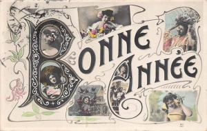 New Year Bonne Annee Souvenir ladies beautiful, femmes, dames 1906