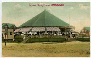 Salisbury Beach MA Culver's Flying Horses Carousel Merry Go Round Postcard