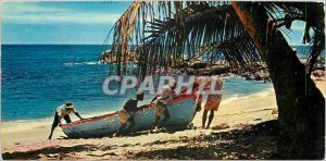 Modern Postcard Seychelles Islands the end of the day fishermen