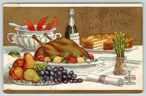 Thanksgiving~Table Setting~Turkey~Fruit Plate~Lobster Claws~Wine~Gold Emboss