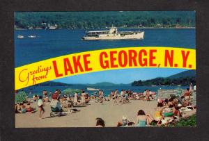 NY Greetings from Lake George New York Postcard Million Dollar Beach Tour Boat
