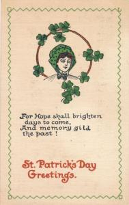 St Patrick's Day Greetings - For Hope shall bighten days to come - pm 1915 - DB