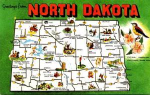 North Dakota Greetings With Map