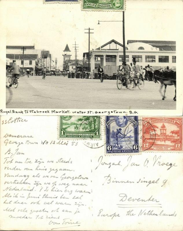 british guiana, GEORGETOWN, Water Street, Royal Bank to Stabroek Market 1953