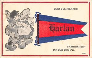 To Remind Youse of Days Gone Pye in Harlan Michigan~1914 Pennant Postcard