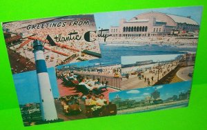 Atlantic City Postcard Large New Jersey Rolling Chair Lighthouse Convention Hall