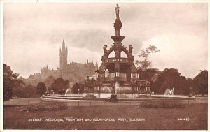 Scotland, UK Old Vintage Antique Post Card Stewart Memorial Fountain & Kelvin...