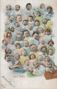 Multiple Babies Greetings - Good Night from Crying Babies - pm 1908 - DB