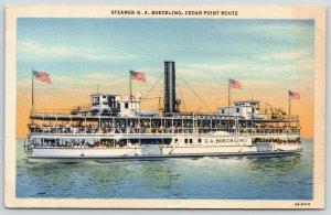 Ohio~Steamer G A Boeckling~Cedar Point Route~Lots of People on Decks~1940s