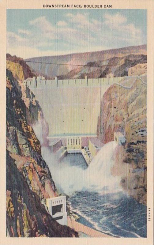 Nevada Boulder Dam Downstream Face Curteich