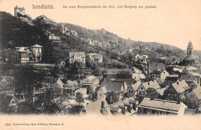 Burgberg Bavaria Germany birds eye view suspension railway antique pc Z17885