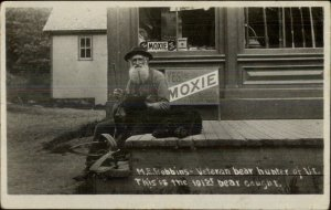 Old Man Hunter Dead Bear Gun MOXIE Signs 1907 Vermont Real Photo Postcard