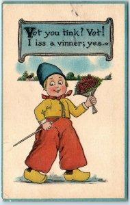 Vintage Dutch Kids Romance Postcard Boy w/ Flowers I Iss a Vinner; Yes c1910s