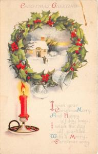 Christmas Greeting Postcard~House w Snow in Wreath-Candle-Poem~pm @ Catskill NY