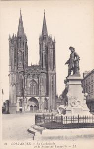 COUTANCES, France , 1900-10s ; La Cathedrale et la Statue de Tourville