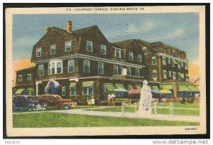 Virginia Beach VA Motel Hotel Courtney Terrace Used 1946 Linen Postcard