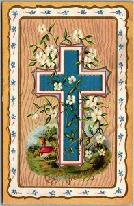 Vintage EASTER Embossed Postcard Blue Cross w/ White Flowers - 1913 Cancel
