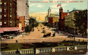 Pennsylvania Avenue street view, Washington DC antique cars, horse carriage