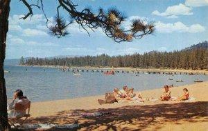 Zephyr Cove, Nevada LAKE TAHOE Beach Scene ca 1950s Vintage Postcard