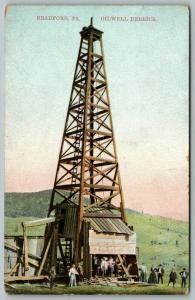 Bradford Pennsylvania~Oil Well Derrick~Workers~Ladies & the Suits~c1910 Postcard