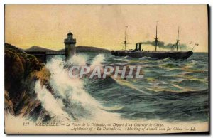 Old Postcard Marseille Lighthouse Desirade Departure of China Mail