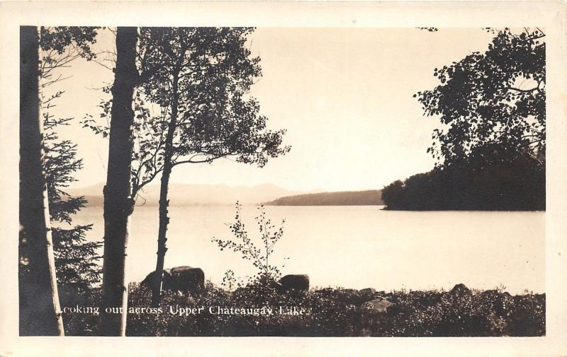 New York~Overlooking Upper Chauteaugay Lake~1920s Real Photo Postcard