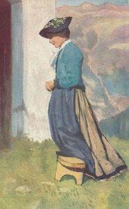 AS: Woman praying on stool, 1900-10s