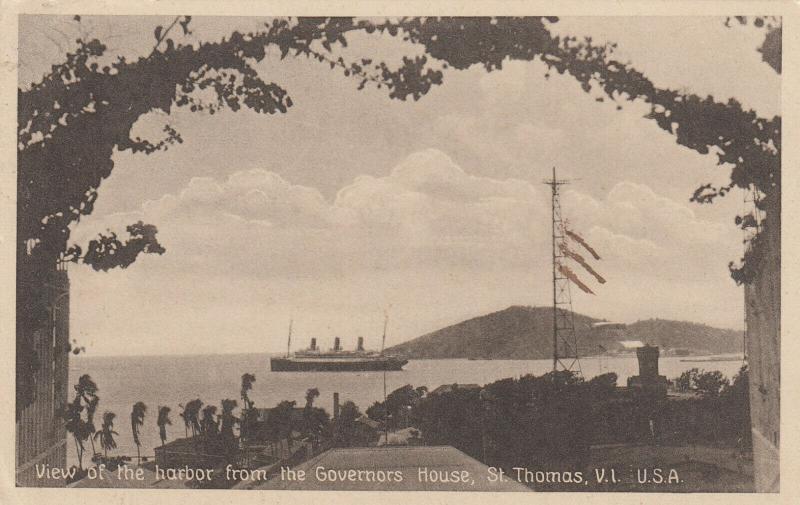 ST. THOMAS , V.I. , 1939 ; Ocean Liner in harbor