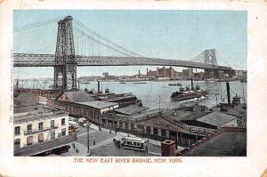 New York, The New East River Bridge, trams, ships, bruecke pont, panorama 1904