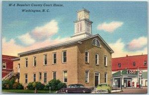 Washington, North Carolina Postcard BEAUFORT COUNTY COURT HOUSE Street View Line