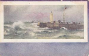 The Lighthouse and Stormy Seas - Painting - pm 1908