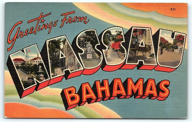 Postcard Large Letter Greetings from Nassau Bahamas