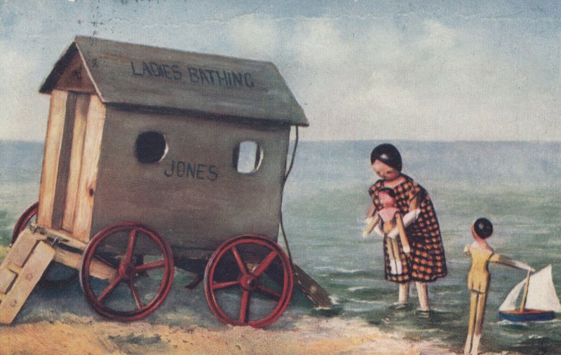 Stick Doll Mom & children at the Beach, PU-1904; TUCK # 6494