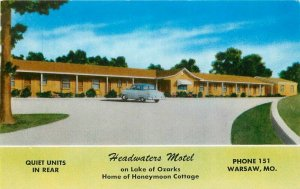 Automobiles Headwaters Motel roadside Warsaw Missouri MWM Postcard 20-9103