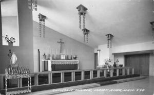 Indian River Michigan~Catholic Church Interior~Wooden Decor Hangs Down~RPPC 1945