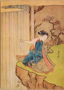 'Girl At A Waterfall' Suzuki Harunobu Artist Repro Unused Art Postcard D50