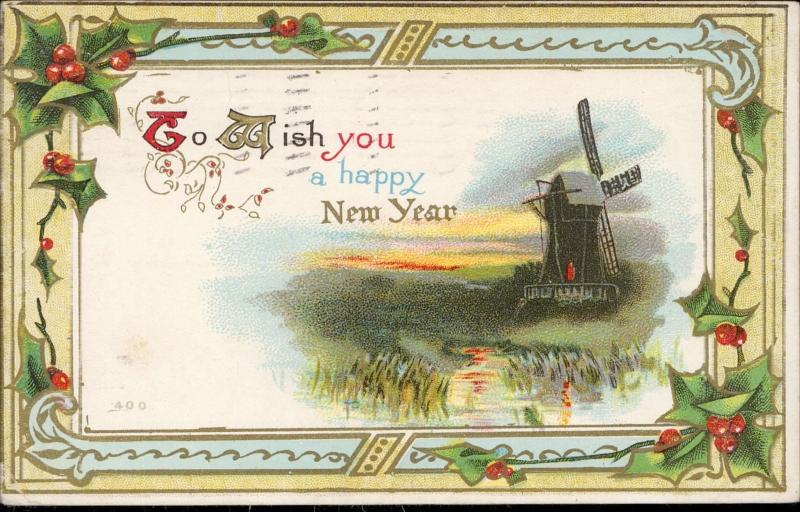 Happy New Year greeting wind mill chromo embossed