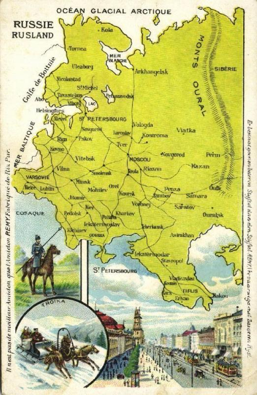 russia, MAP Postcard, Cosack, Troika, St. Petersburg (1910s) Remy Paste