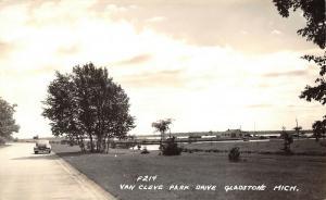 Gladstone Michigan~Van Cleve Park Drive~Club~Bridge over Pond~1940s RPPC