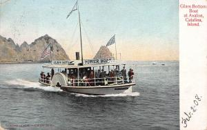 Glass Bottom Boat at Avalon, Catalina Island, early postcard, used in 1908