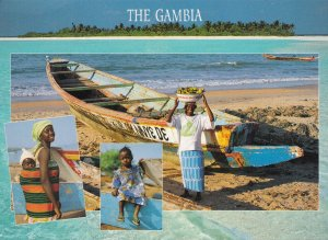 Greetings From The Gambia Lady Banana Seller Boat Owner Postcard