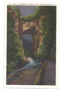 Natural Bridge Virginia Night Illumination VA Postcard