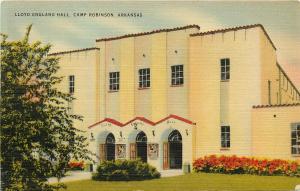 Linen Postcard; Lloyd England Hall, Camp Robinson AR Army & National Guard