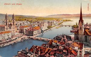 Switzerland Old Vintage Antique Post Card Zurich und Alpen Unused
