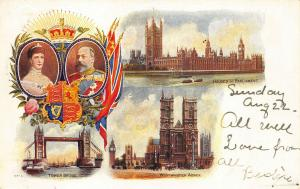 King & Queen 1902 Tower Bridge Westminster Abbey Houses of Parliament Postcard