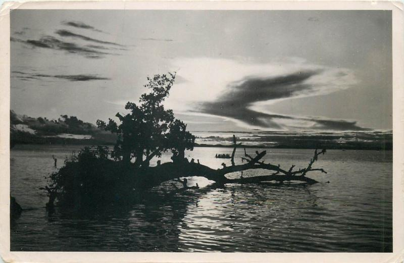 New Guinea sunset real photo postcard