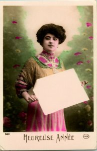 Vtg Postcard 1910s RPPC Hand Colored Heureuse Annee Woman Holding Blank Card