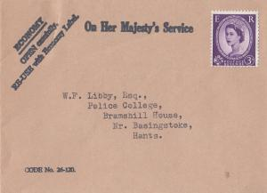 On Her Majestys Service Economy 1950s Cover Envelope